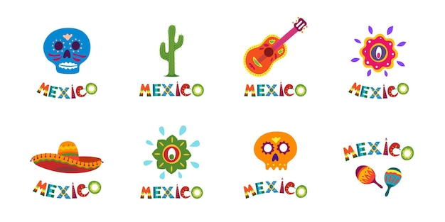 Mexico typography banner collection with colorful text decoration set festive mexican sombrero and