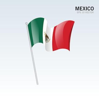 灰色に分離された旗を振っているメキシコ