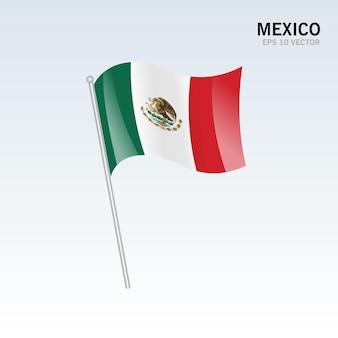 멕시코 회색에 고립 된 깃발을 흔들며