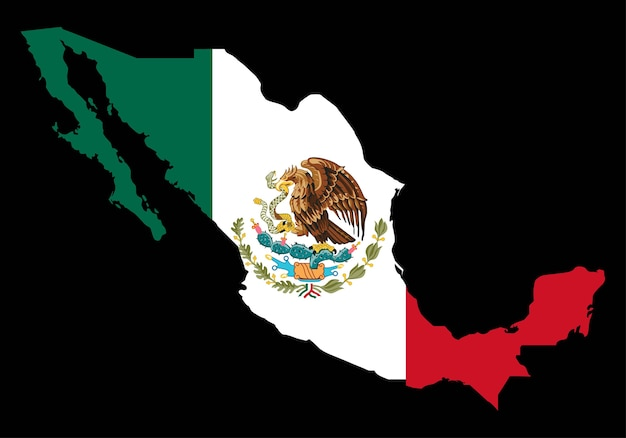 Mexico with flag vector map on black background