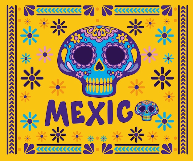 黄色の背景デザインのフレームに頭蓋骨とメキシコ。