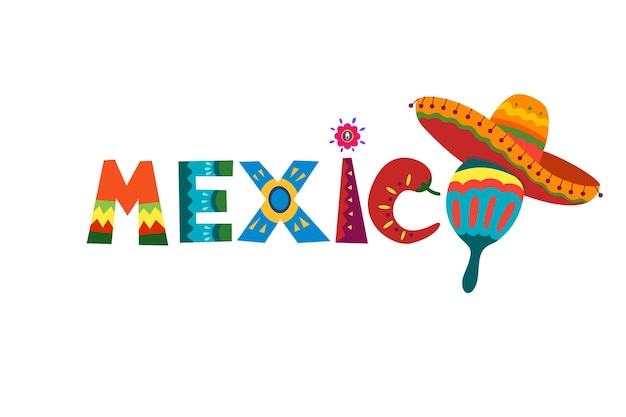 Mexico word in mexican traditional ornament text for festive card or invitation design bright