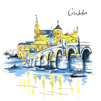 Mezquita and roman bridge in cordoba, spain