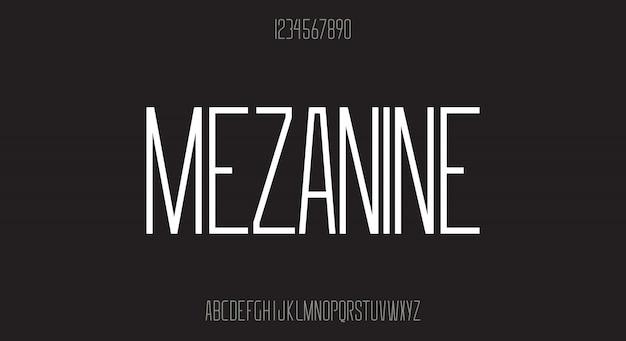 Мезонин, современные острые края, высокий шрифт без засечек