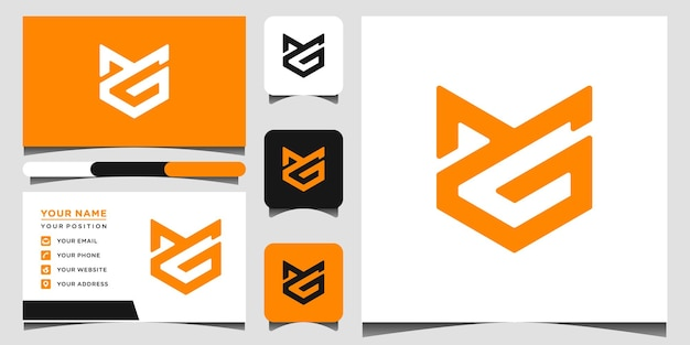 Логотип mg и шаблон визитной карточки