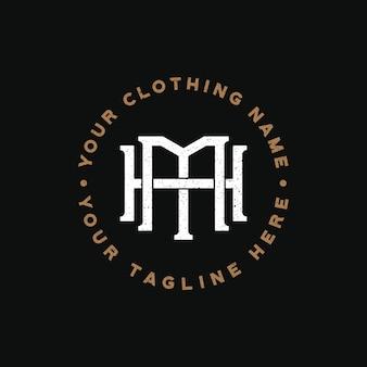 Шаблон логотипа монограммы mh для одежды