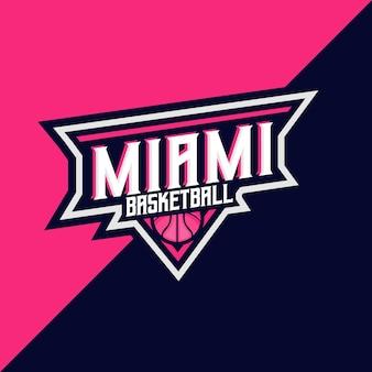 Шаблон логотипа баскетбола и спорта майами