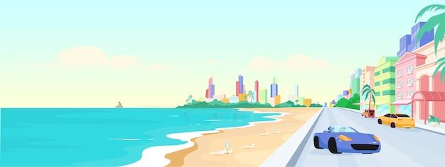 昼間のマイアミビーチフラットカラーイラスト
