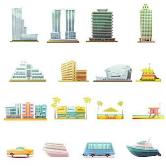 Miami beach buildings city landscape tourists attractions and transportation retro cartoon