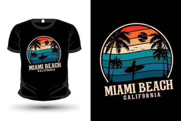 マイアミビーチカリフォルニア商品イラストモックアップtシャツデザイン
