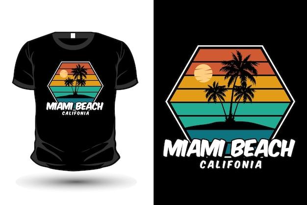 マイアミビーチカリフォルニア商品シルエットtシャツデザインレトロスタイル