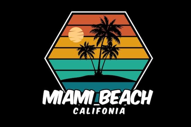 Miami beach california silhouette design retro style
