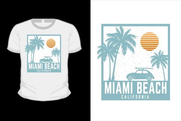 マイアミビーチカリフォルニアシルエットtシャツデザイン