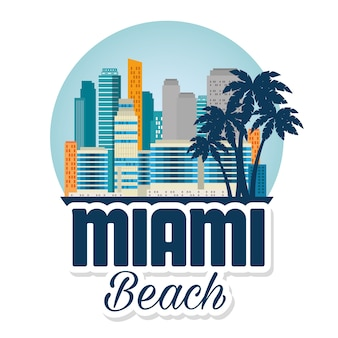Miami beach cityscape scene vector illustration design