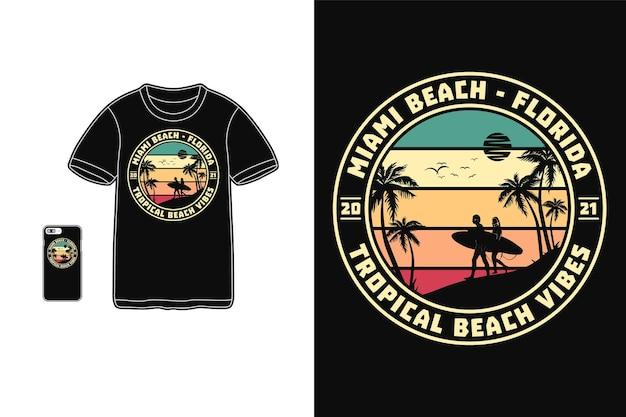 Майами-бич флорида для дизайна футболки силуэт
