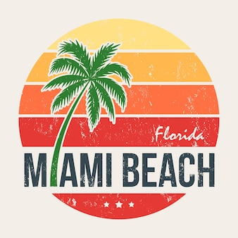 Miami beach florida tee print with palm tree
