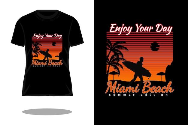 Miami beach retro silhouette t shirt design