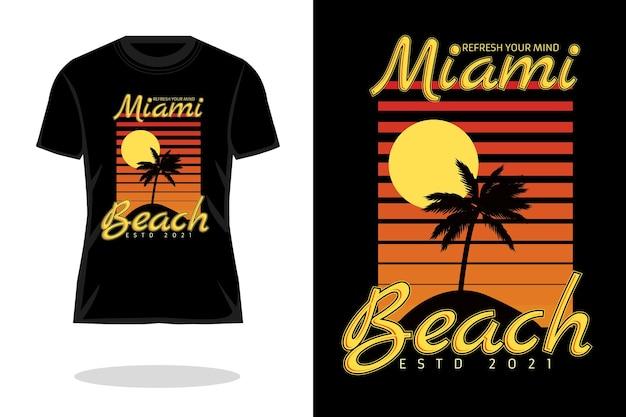 マイアミビーチのレトロなシルエットのtシャツのデザイン