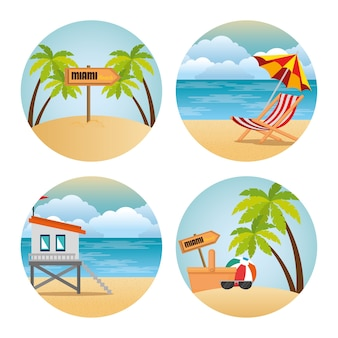 Miami beach set scenes vector illustration design