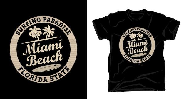 マイアミビーチのタイポグラフィtシャツのデザイン
