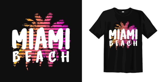 Miami beach with palm for print t shirt