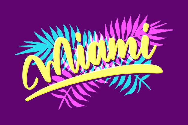 Miami city lettering on purple background