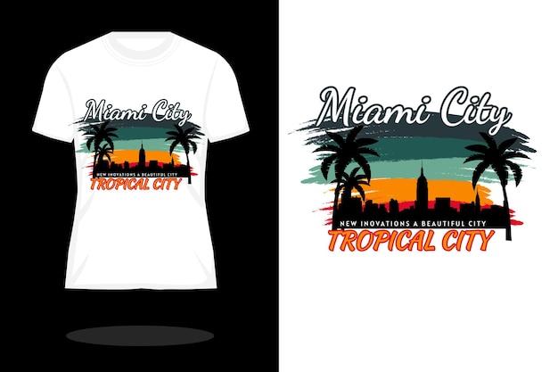 Miami city retro silhouette t shirt design