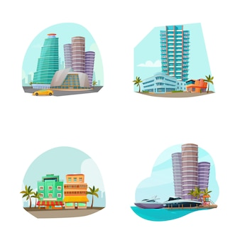 Miami cityscape 4 icons composition