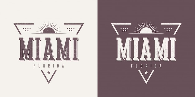 Miami florida textured vintage  t-shirt and apparel