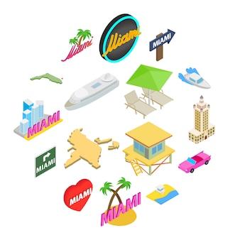 Miami icon set, isometric style