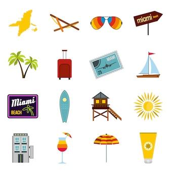 Miami icons set