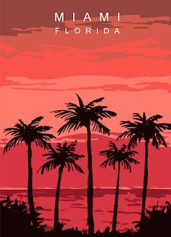 Miami modern poster. miami, florida landscape