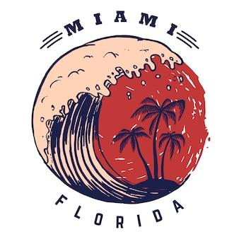 Майами. шаблон плаката с буквами и пальмами. образ