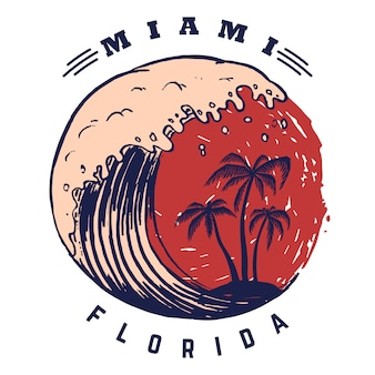 Miami. poster template with lettering and palms.  image