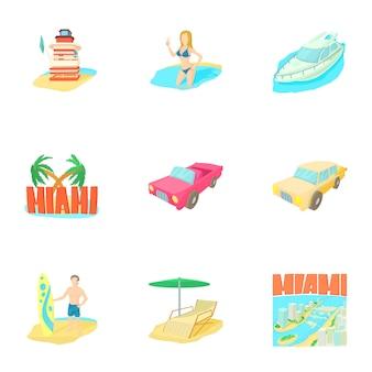 Miami set, cartoon style