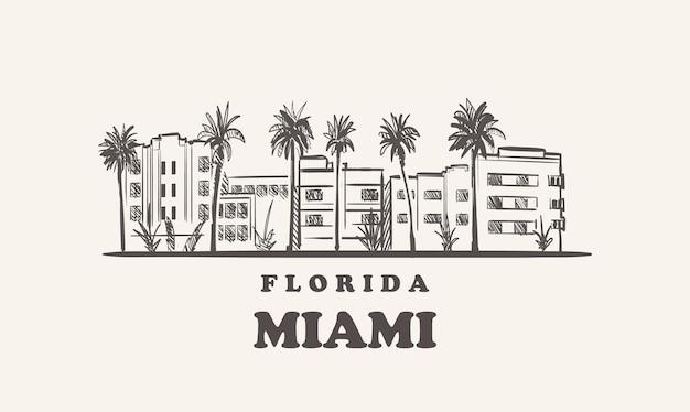 마이애미 스카이 라인 플로리다 그린 된 스케치