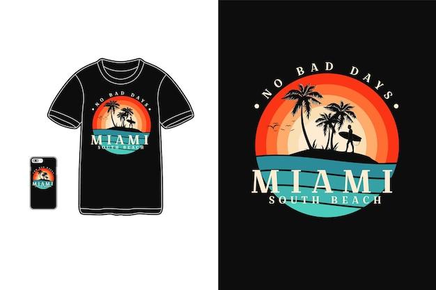 Майами южный пляж футболка дизайн силуэт ретро стиль