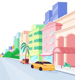 マイアミ通りのフラットカラーオブジェクト