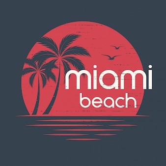 マイアミの夕日。 tシャツとアパレルのデザイン、印刷、typograp
