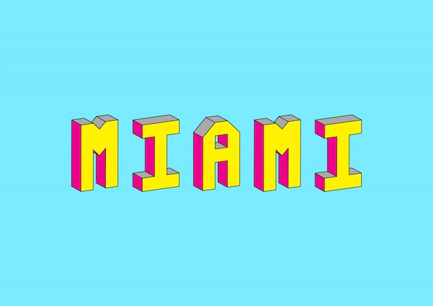 Miami text with 3d isometric effect