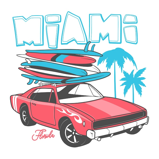 Miami typography for t-shirt print and retro car with surfboard.