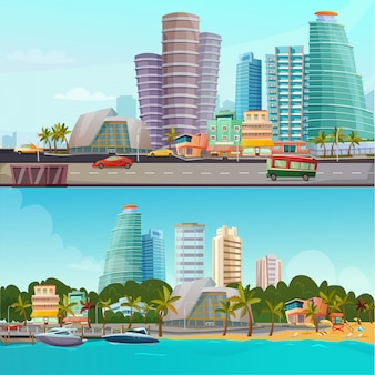 Miami waterfront cartoon banner set set