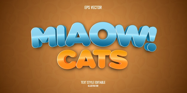 Miaow cats  3d text style effect