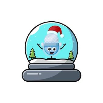 마이크 돔 크리스마스 귀여운 캐릭터 로고