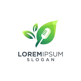 Mic and leaf logo