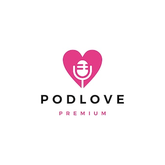 Mic love podcast logo icon illustration