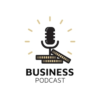 Mic microphone money coins for business podcast logo design