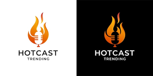 Mic podcast audio with fire flame logo concept design inspiration template