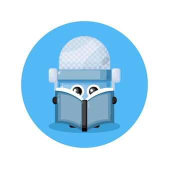 Mic reading a book cute character logo