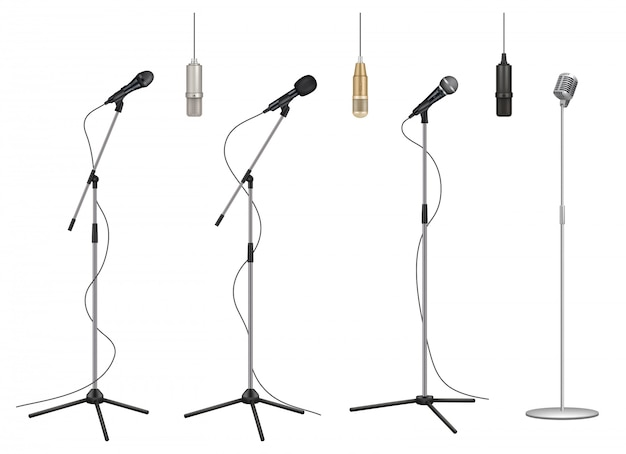 Mic stand. realistic music microphones sound studio professional equipment pictures collection